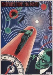 Vintage Russian film poster - A trip to Mars. 1926